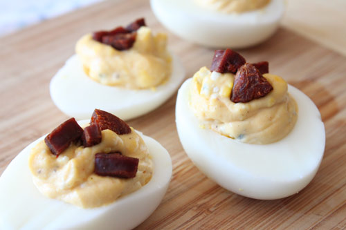 Deviled Eggs with Blue Cheese and Chorizo