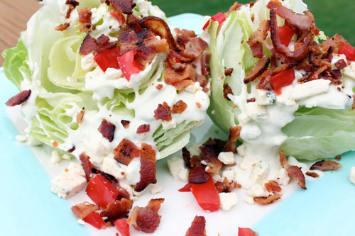 Class Wedge Salad with Bacon and Blue Cheese Dressing
