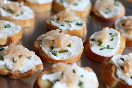 Crostini with Goat Cheese, Garlic Scapes, and Mexican Pickled Onions