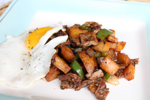 Hash made with beef and potatoes