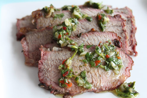 Tri-Tip Steak with Cilantro Chimichurri sauce