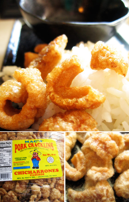 Filipino Breakfast - Chicharones with Rice