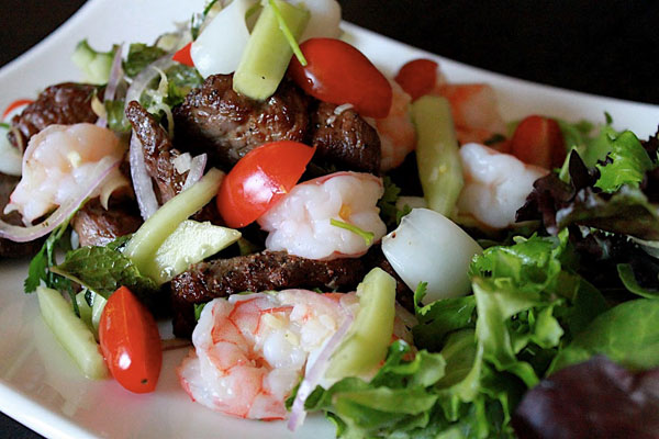 Yum Nua (Thai Beef Salad) with Shrimp and Squid