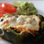Chicken and Leek Stuffed Poblano Peppers