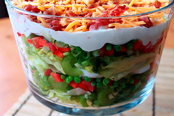 Seven Layer Salad with Wasabi Mayonnaise Dressing