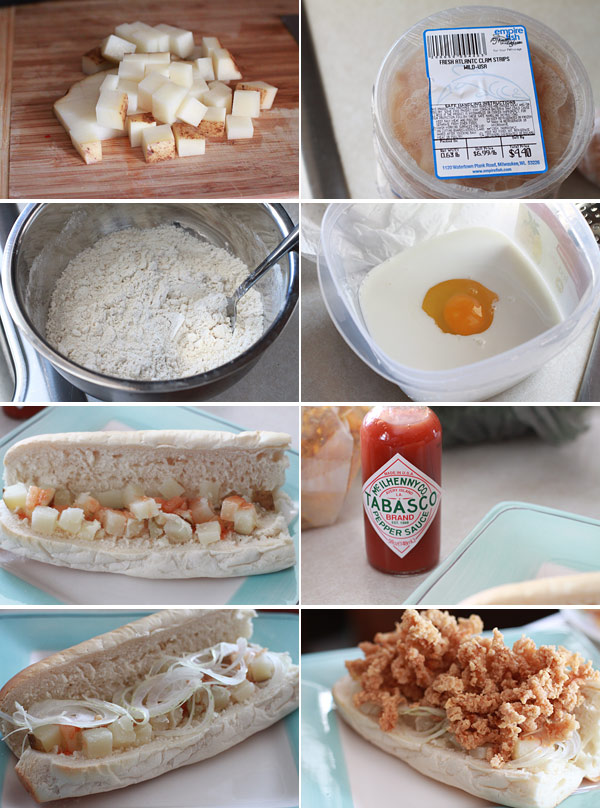 Ingredients for making a Fried Clam Po-Boy