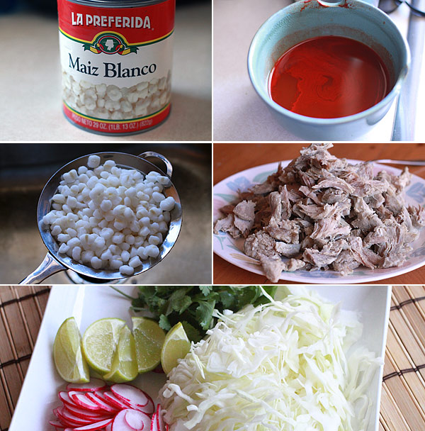 Ingredients for making pozole rojo