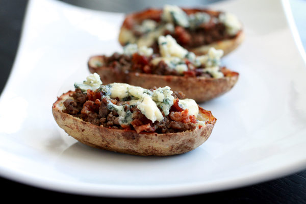 Bacon and Blue Cheeseburger Potato Skins