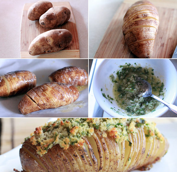 Ingredients for making hasselback potatoes