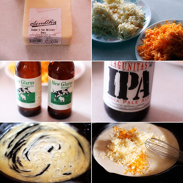 Ingredients for making beer mac and cheese recipe
