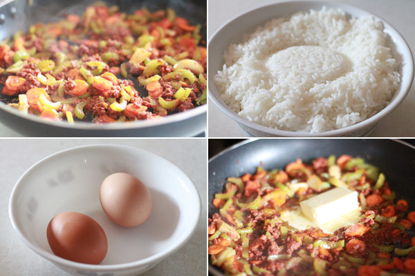 Ingredients for making fried rice recipe