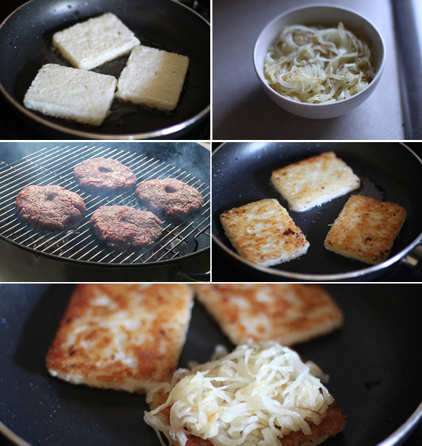 Ingredients for making a hashbrown cheese burger