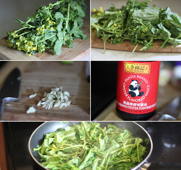 Ingredients for making Chinese greens