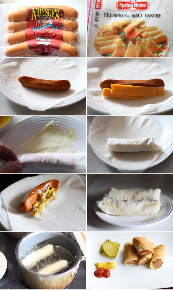 How to make a hot dog egg roll recipe