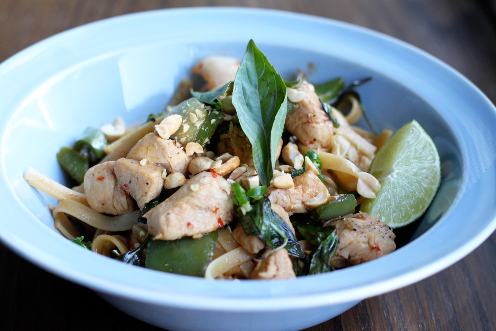 thai drunken noodles is basically a noodle dish that incorporates