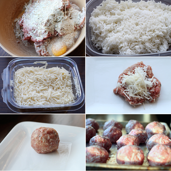 Ingredients for making rice stuffed meatballs