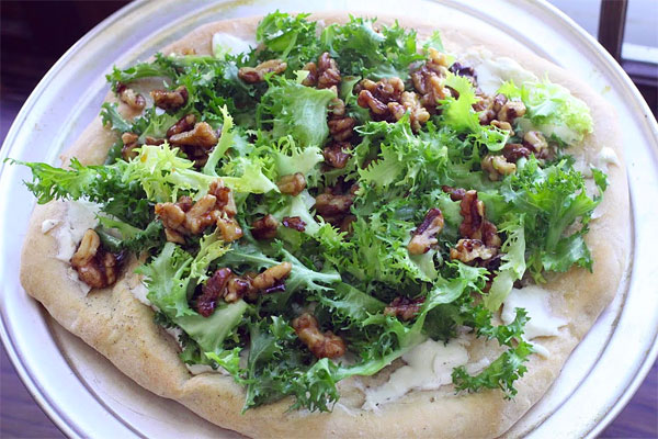 Escarole and Goat Cheese Pizza with Honey Toasted Walnuts