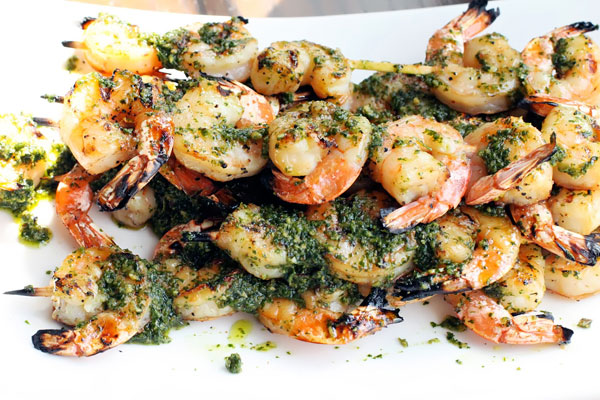 Grilled Shrimp with Cilantro Pesto Recipe