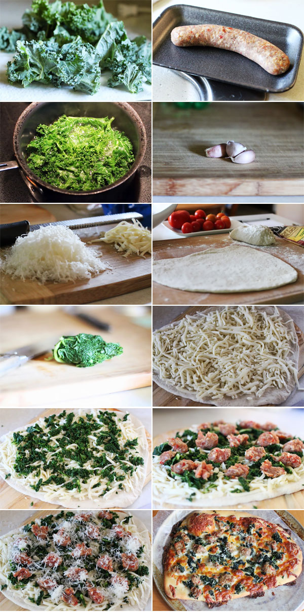 How to make sausage and kale pizza