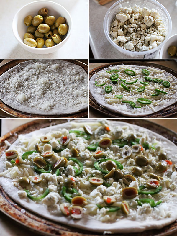 How to make an olive and blue cheese pizza