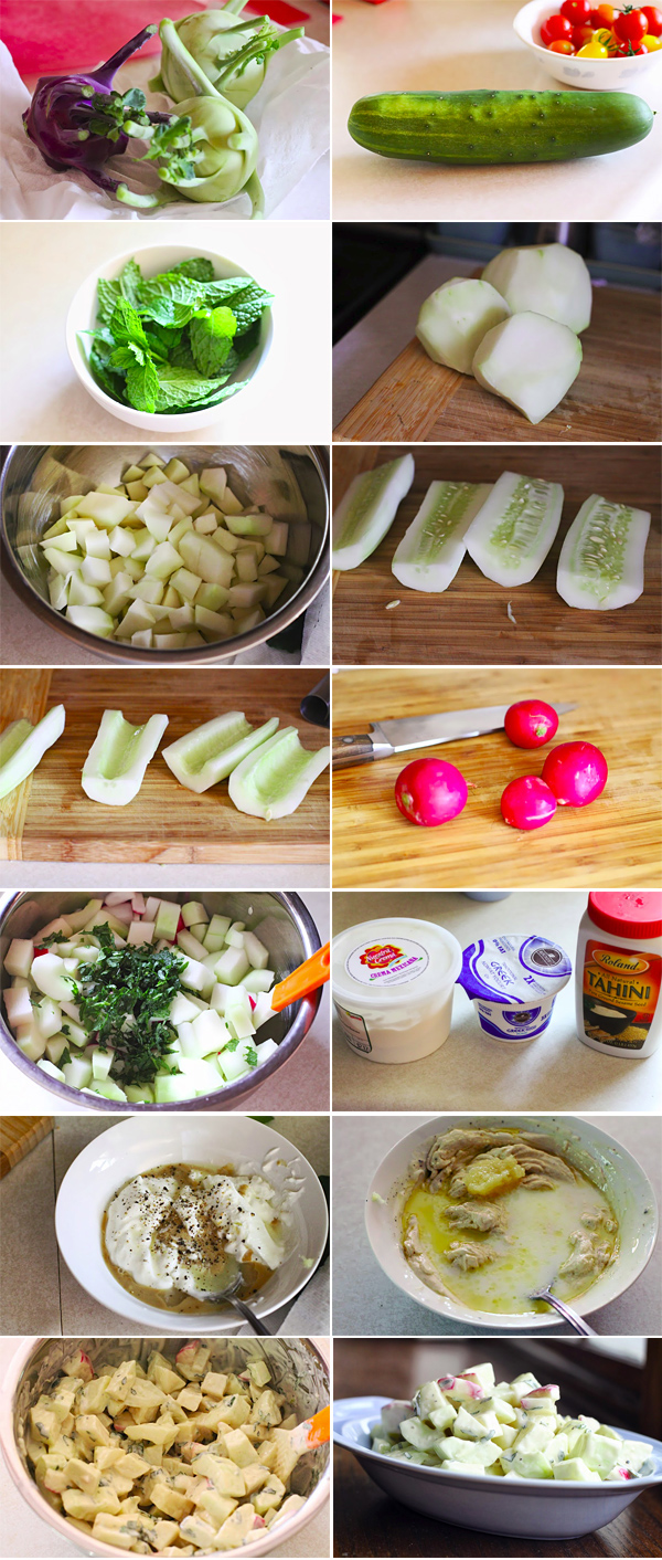 Kohlrabi and Cucumber Salad Inredients