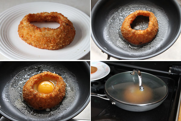 How to make a fried egg inside of an onion ring