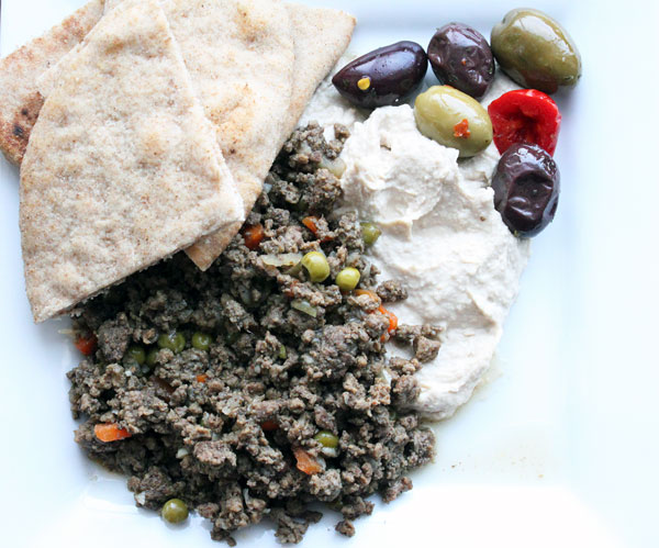 Moroccan Style Ground Beef with Hummus