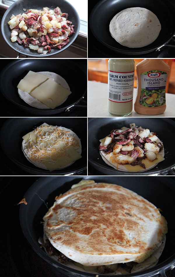 How to make corned beef hash quesadillas