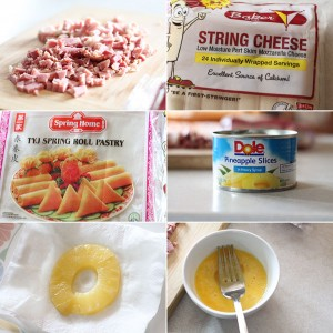 How to make ham, cheese, and pineapple egg rolls