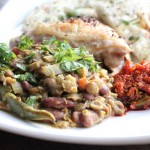 Indian Green Lentil Curry with Kidney Beans