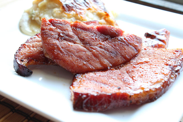 Grilled Nueske's Ham Steak with Barbecue Sauce