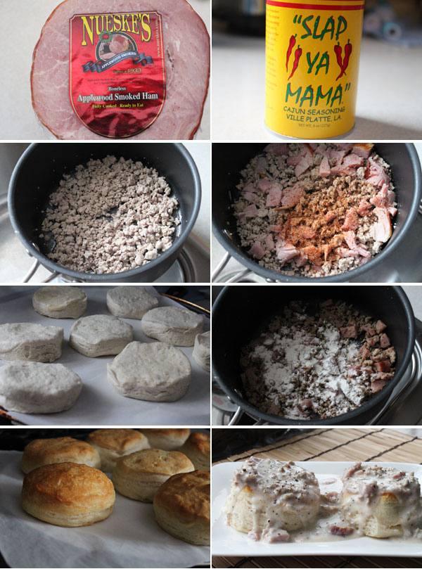 Ingredients for making ham and sausage biscuits and gravy
