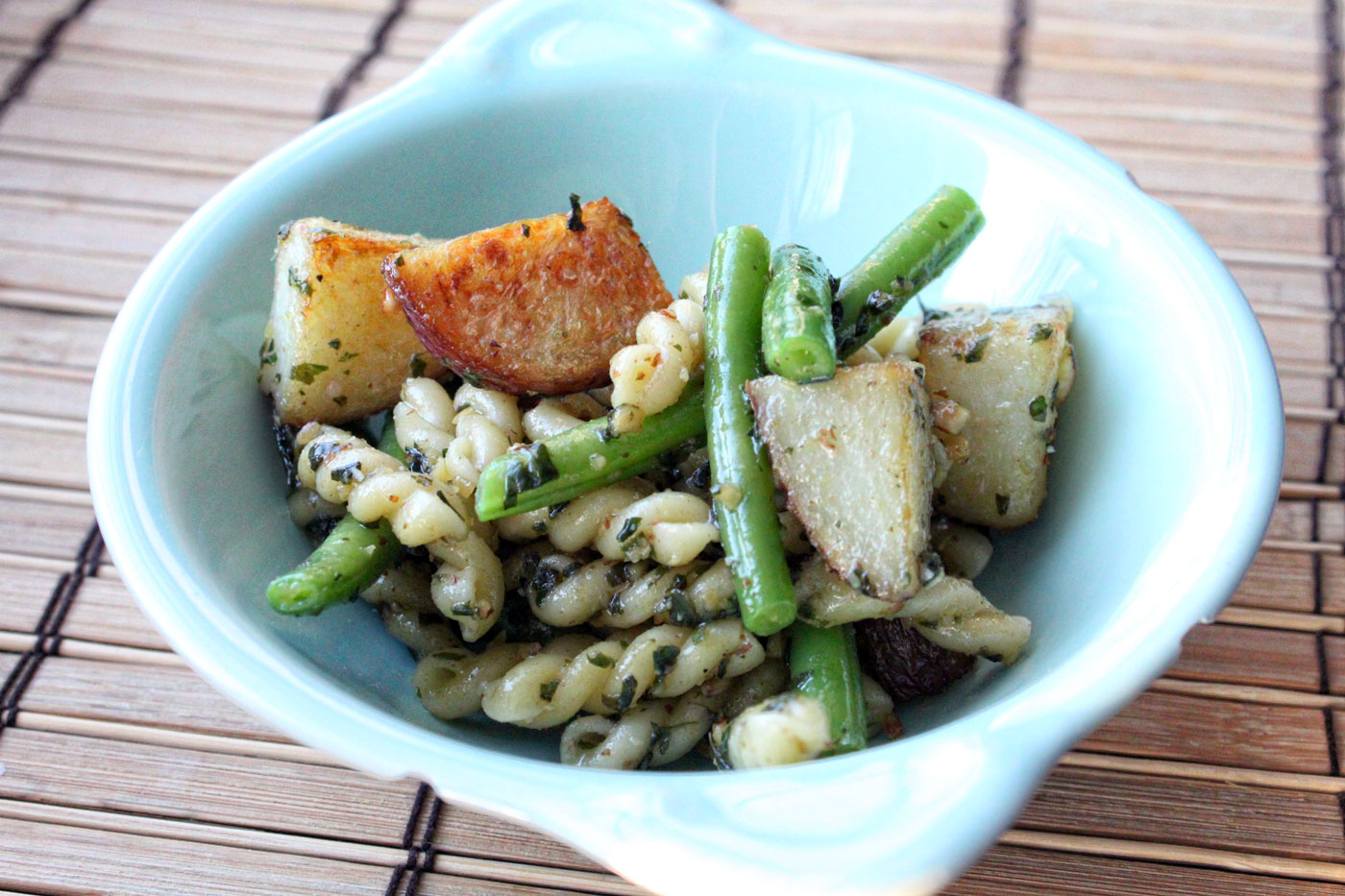And Green Bean Salad With Almond-Chive Pesto Recipes — Dishmaps