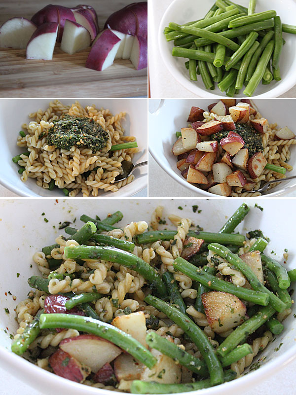 Pasta with Pesto, Potatoes, and Beans