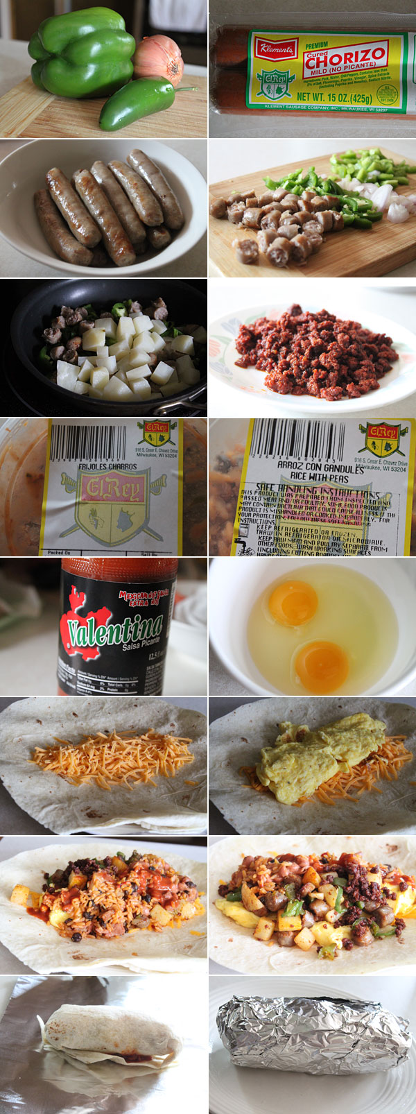 Ingredients for making the ultimate breakfast burrito