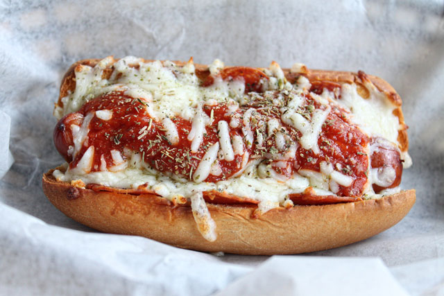pizza style hot dogs