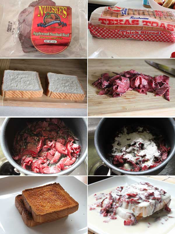 Ingrdients for making Creamed Chipped Beef on Toast
