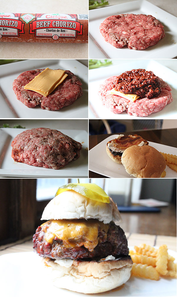 Chorizo and Cheese Stuffed Burgers