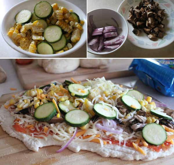How to make a corn and zucchini pizza