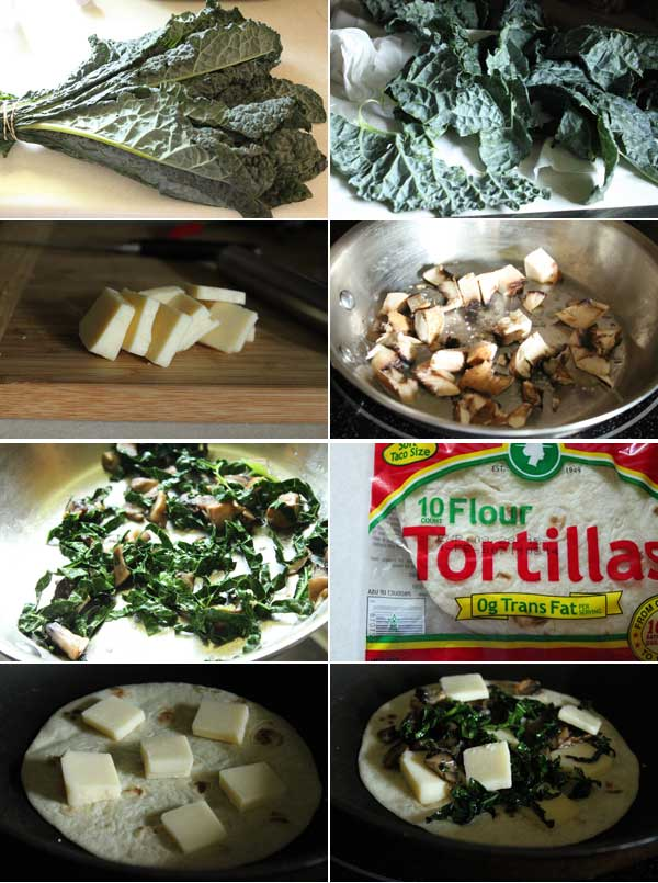 Kale and Mushroom Quesadilla Ingredients