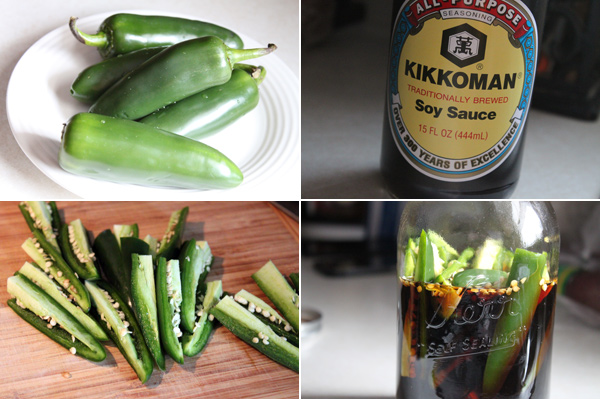 Ingredients for making Asian style pickled peppers