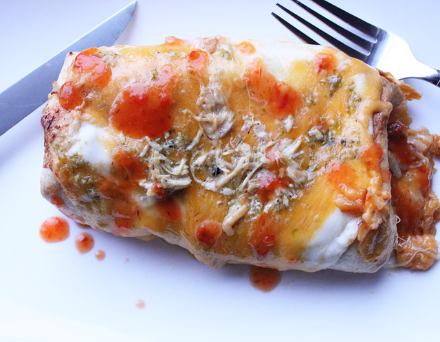 Baked Chicken Verde Chimichanga