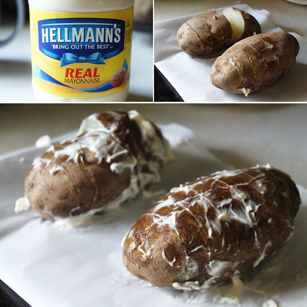 Mayonnaise Crusted Baked Potatoes