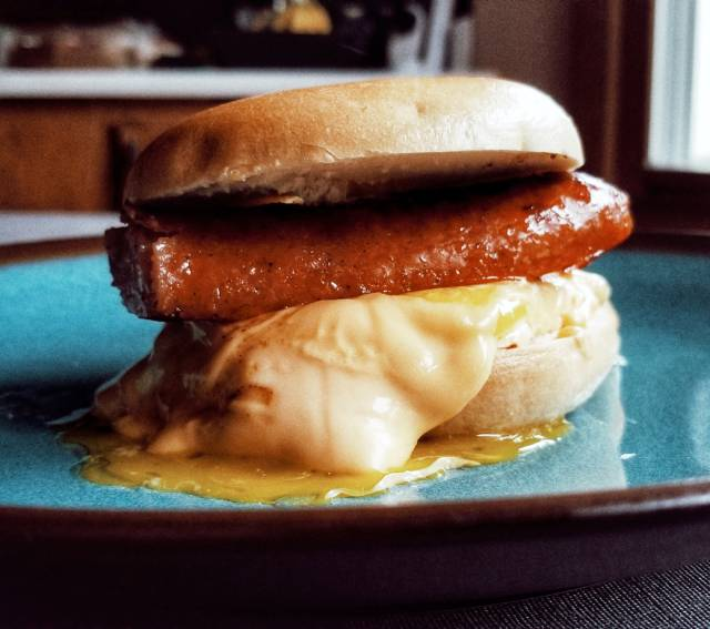 Polish Sausage Breakfast Bagel Sandwich